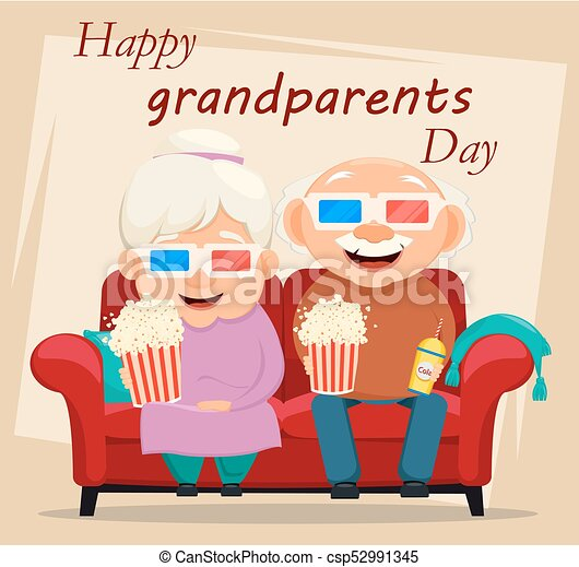Grandparents day greeting card grandmother and grandfather watching grandparents day greeting card csp52991345 m4hsunfo