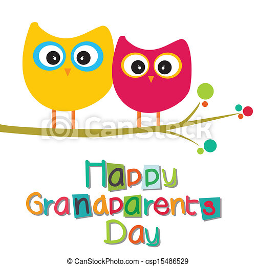 happy grandparents day text with two owls on white vector rh canstockphoto com grandparents day clipart black and white grandparents day clipart png