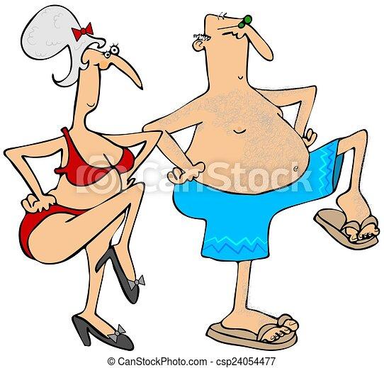 Grandparents exercising - csp24054477