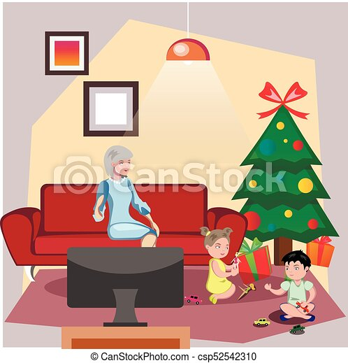 Christmas gift giving clipart illustrations