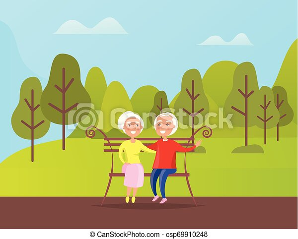 Terrific Grandparents People Sitting On Bench In Green Park Bralicious Painted Fabric Chair Ideas Braliciousco