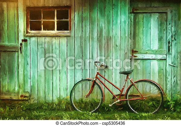 Pintura digital de bicicleta vieja contra granero - csp5305436