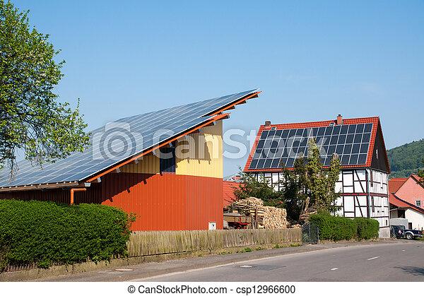 Grange with solar panels - csp12966600
