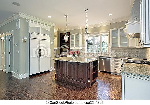 graniet, keuken, eiland - csp3241395