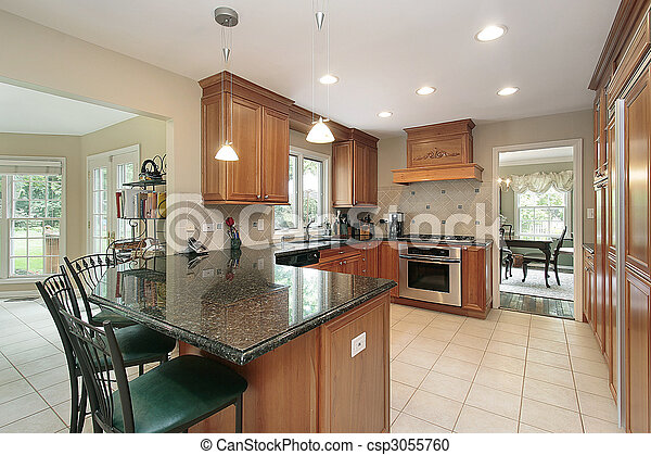 graniet, keuken, eiland - csp3055760