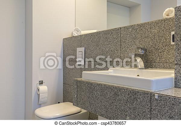 Graniet, tegels, badkamer, minimalist. Minimalist, badkamer, toilet ...