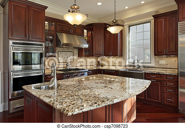 Granito, cocina, isla. Isla, cabinetry, madera, cereza, granito, cocina.