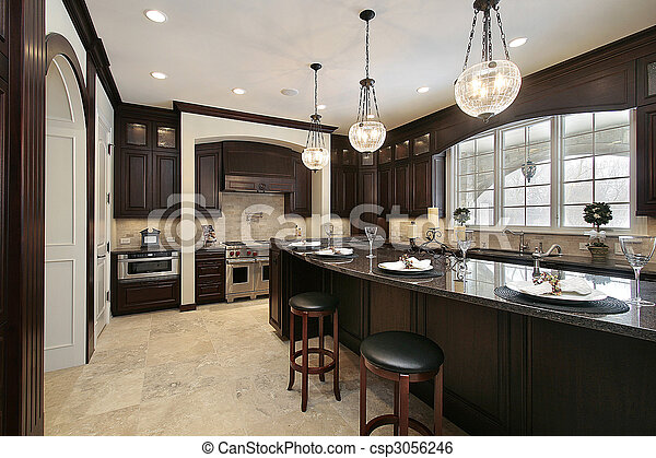 Granito, cocina, isla. Isla, granito, construcción, nuevo... imagen ...