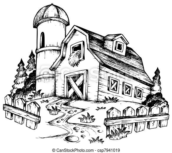 Granja, 1, tema, dibujo. Illustration., granja, -, 1, tema ...