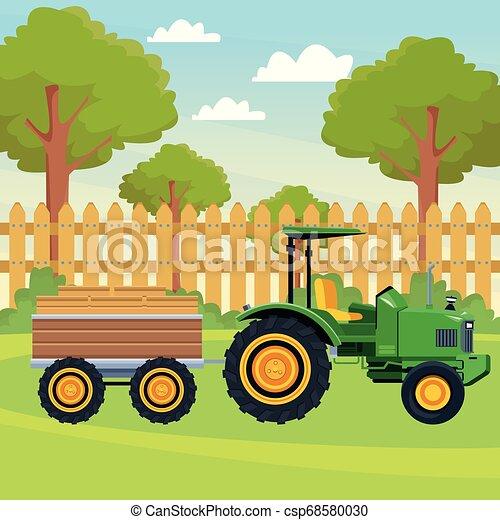 Un Camión De Granja Y Un Remolque Tractor De Camiones De Granja Y Icono De Caricatura De Dibujos Animados De Paisajes Canstock