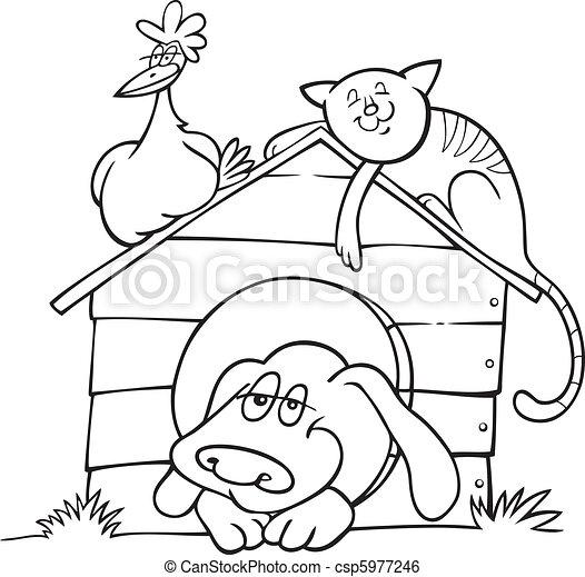 Animales de granja felices para colorear libros - csp5977246