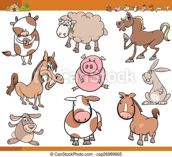 Los animales de granja pusieron dibujos animados - csp26989665