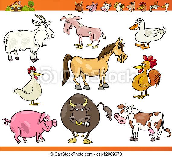 granja, conjunto, animales, caricatura, ilustración - csp12969670