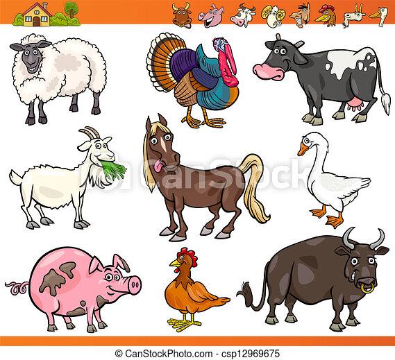 granja, conjunto, animales, caricatura, ilustración - csp12969675