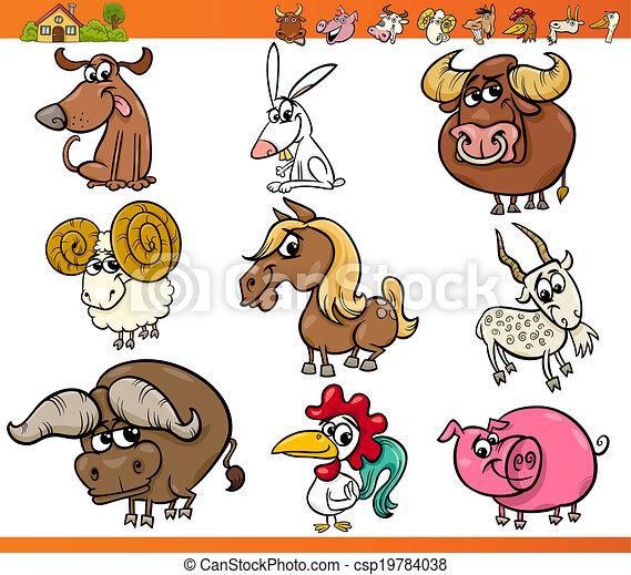 Los animales de granja pusieron dibujos animados - csp19784038