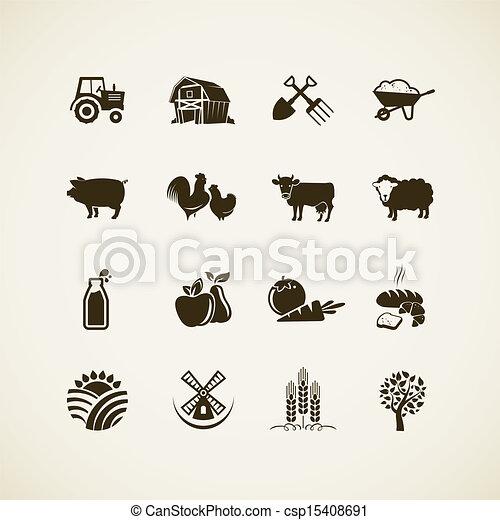Un conjunto de iconos de granja - csp15408691