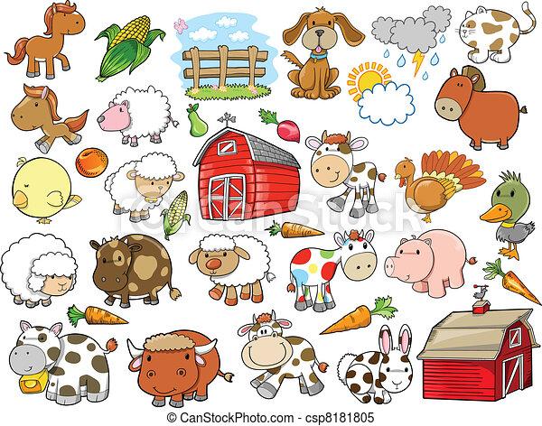 granja, elementos, diseño, animal, vector - csp8181805