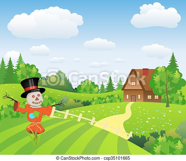 Paisaje de granja con espantapájaros de dibujos animados - csp35101665