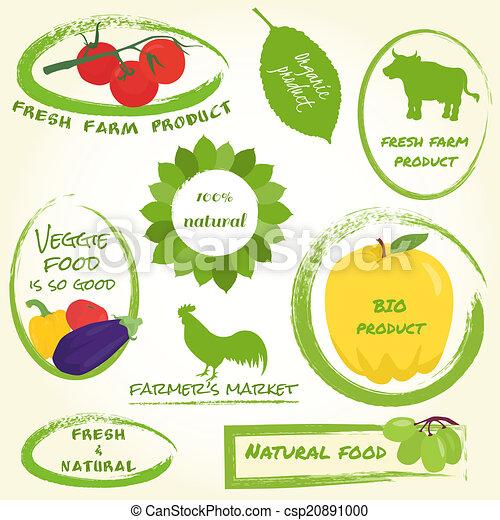 Un conjunto de etiquetas de granja - csp20891000