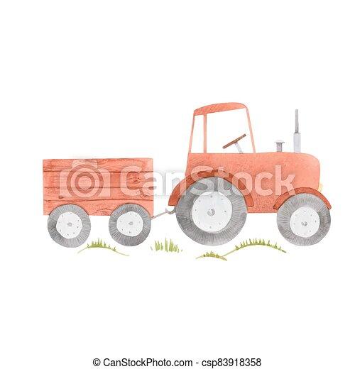 granja, ilustración, hermoso, tractor., acuarela, acción, lindo - csp83918358