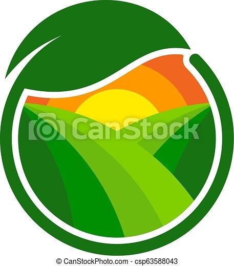 Diseño de iconos de granja verde - csp63588043