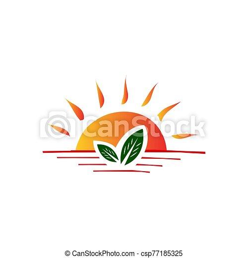granja, logotipo, vector, diseño, hoja, verde, ilustraciones, sol brillante - csp77185325