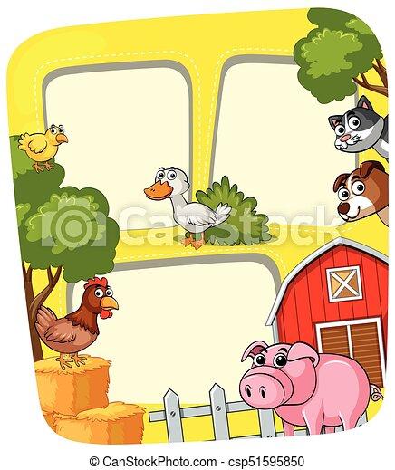 Granja, marco, animales, granero. Animales, illustration., granja ...