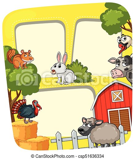 Granja, marco, animales, granero. Animales, illustration ...