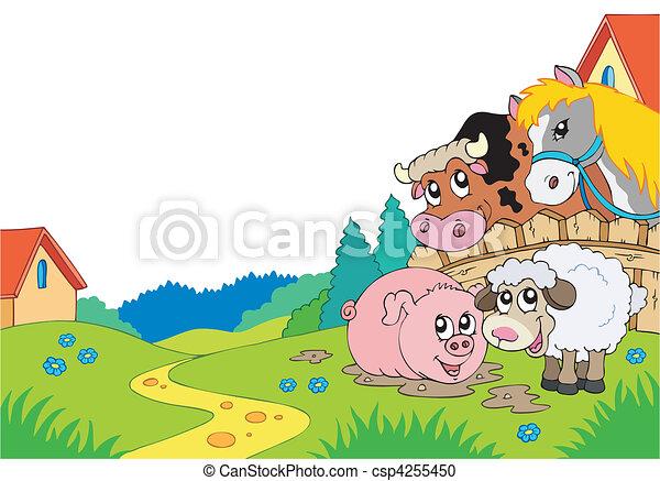 Paisaje rural con animales de granja - csp4255450