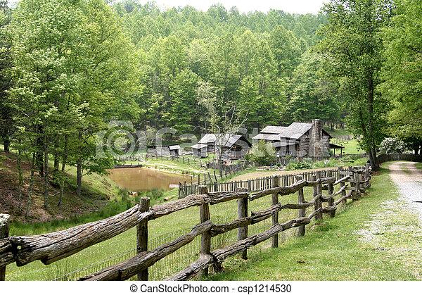 granja, país, viejo, camino - csp1214530