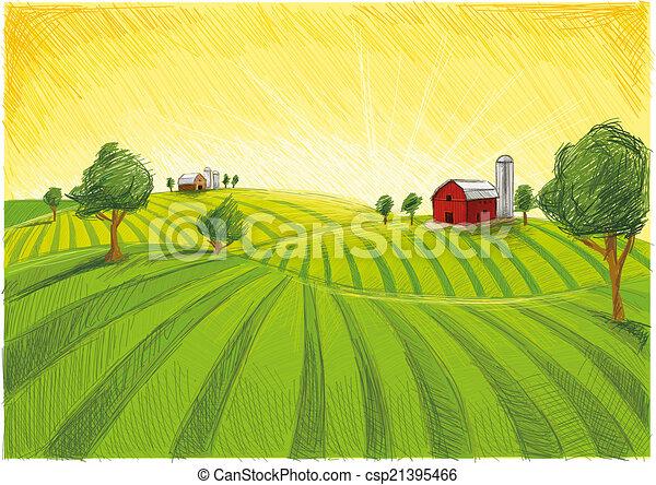 Paisaje de granja roja - csp21395466