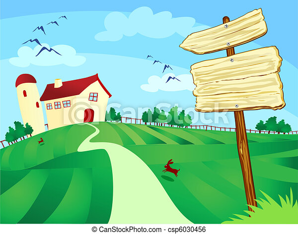 Granja con letrero - csp6030456