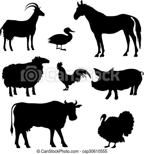 Siluetas de animales de granja - csp30610555