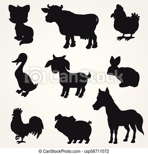 La colección de siluetas de animales de granja - csp56711072