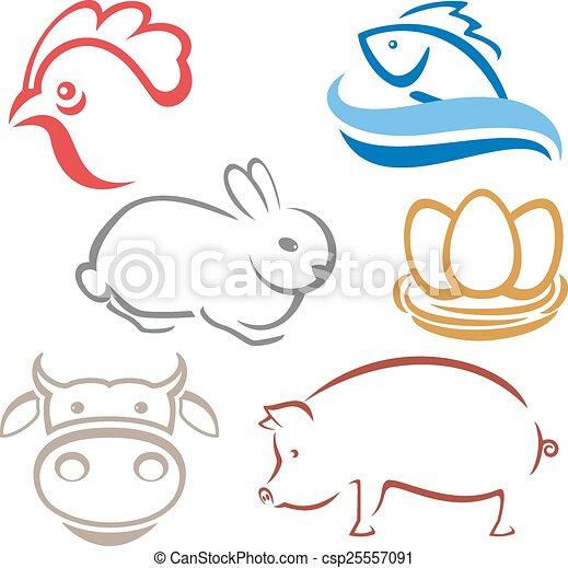 Siluetas de animales de granja - csp25557091
