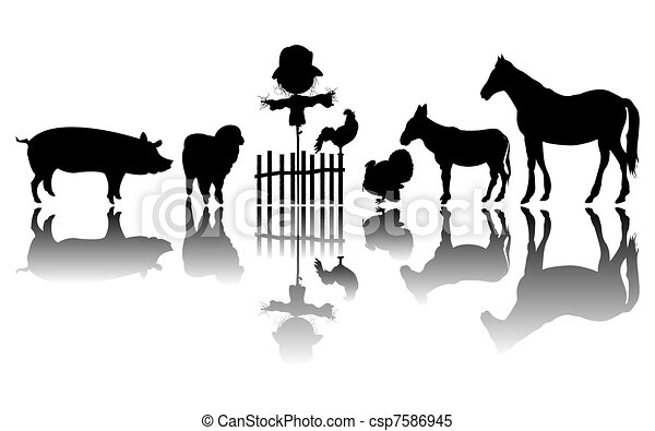 Animales de granja siluetas - csp7586945
