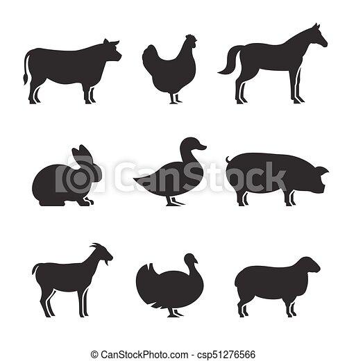 Los animales de granja siluetas de iconos - csp51276566