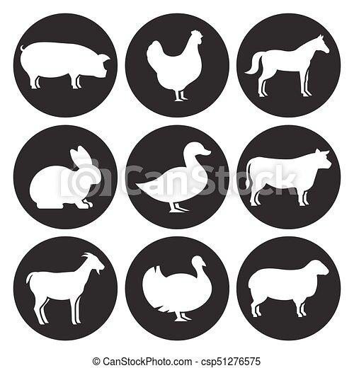 Los animales de granja siluetas de iconos - csp51276575