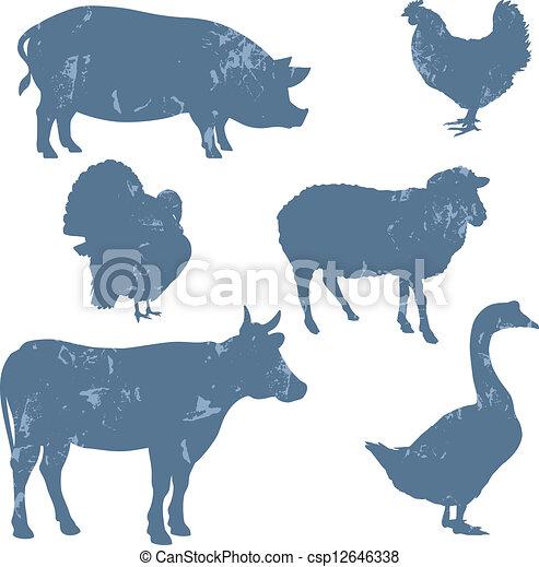 Animales de granja, siluetas de vector - csp12646338