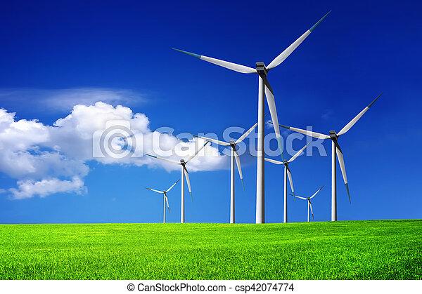 granja, turbinas, viento - csp42074774