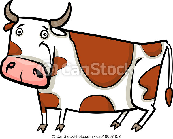 Ilustración cartulina de vaca de granja - csp10067452