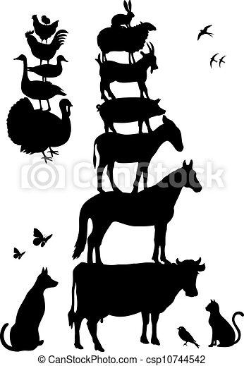 Animales de granja, vector fijado - csp10744542
