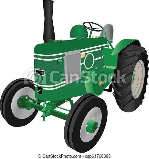 Un tractor de granja verde - csp61768093