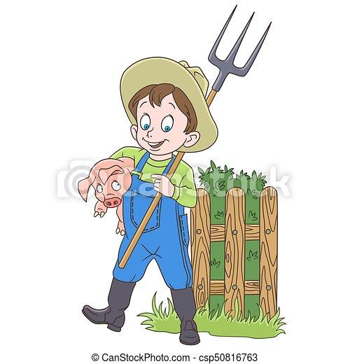 Un granjero con un cerdo - csp50816763
