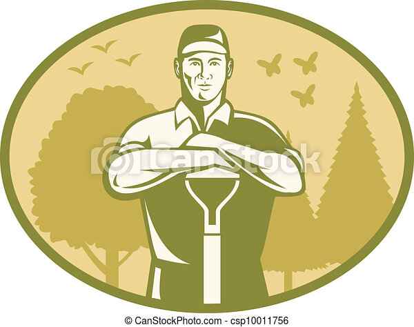 El jardinero campesino retro - csp10011756