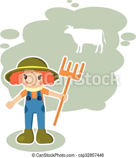 Chica agricultora en formato vectorial - csp32857446