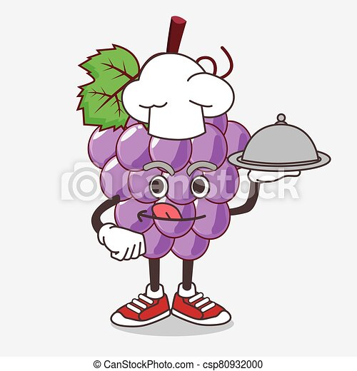 Grape Fruit cartoon mascot character as a Chef with food on tray ready to serve - csp80932000