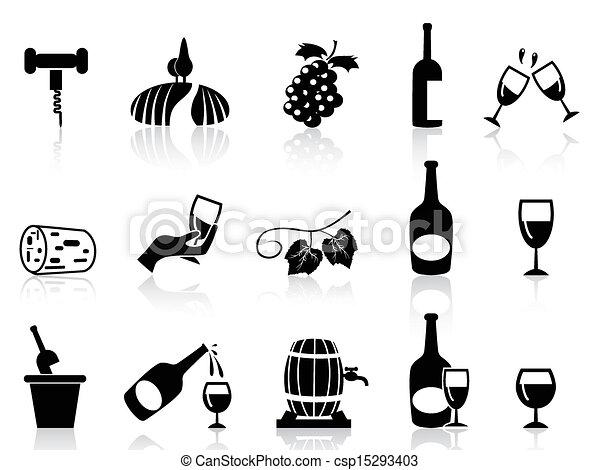 grape wine icons set - csp15293403