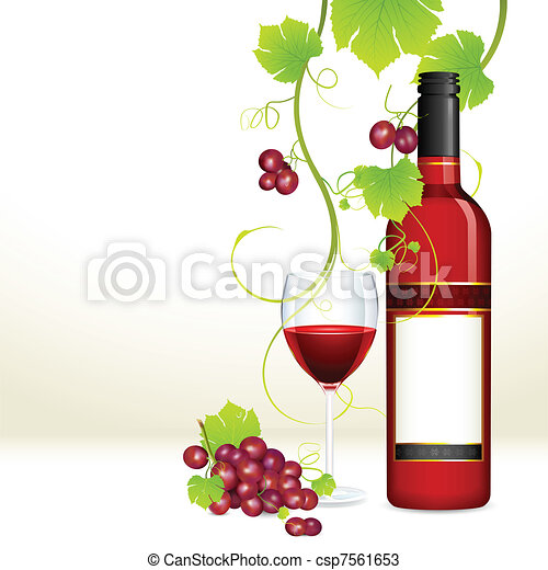 Grape with Wine Bottle and Glass - csp7561653