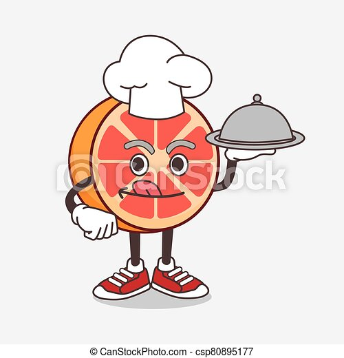 Grapefruit cartoon mascot character as a Chef with food on tray ready to serve - csp80895177